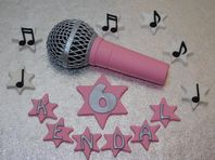 Pink Microphone Cake Topper, Music Notes Name & Number